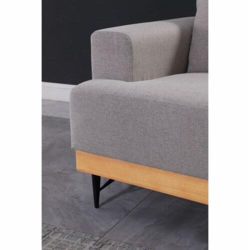 Devion Furniture Modern Fabric Loveseat in Light Gray Perspective: bottom