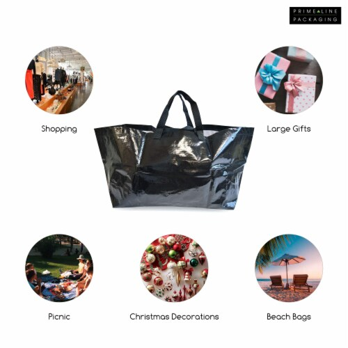 Prime Line Packaging Large Tote Bags for Carrying Bulk Items, Storage Shopping Bags Perspective: bottom