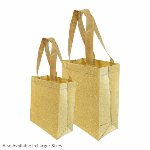 Prime Line Packaging Reusable Glitter Gift Bag with Handles Perspective: bottom