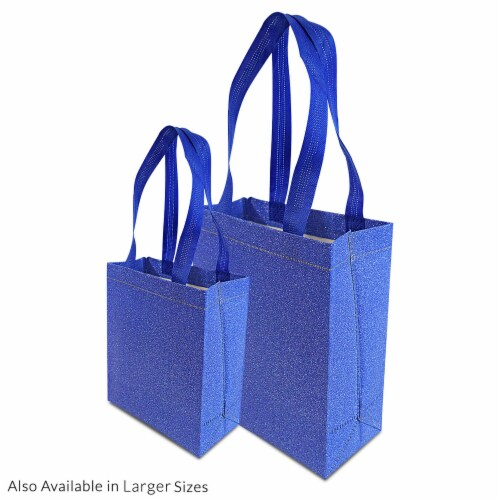 Small Blue Gift Bags with Handles, Reusable Tote, Glitter Metallic Bling Shimmer Perspective: bottom