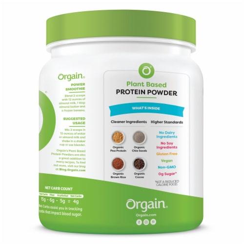 Orgain Organic Creamy Chocolate Fudge Flavor Protein Plant-Based Powder Perspective: bottom