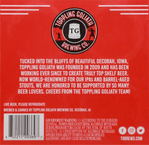 Toppling Goliath Brewing Co. King Sue Double India Pale Ale Beer Perspective: bottom