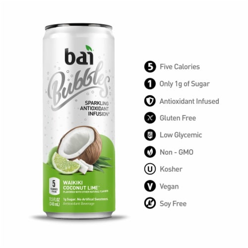 Bai Bubbles Waikiki Coconut Lime Sparkling Beverage Perspective: bottom
