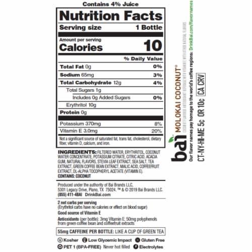 Bai Cocofusion Molokai Coconut Antioxidant Infused Beverage Perspective: bottom