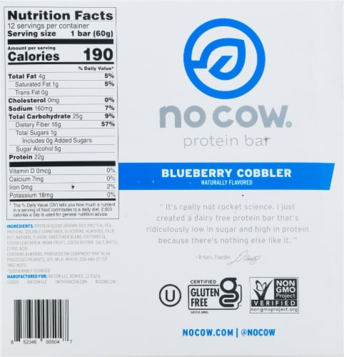 no cow® Dairy Free Blueberry Cobbler Protein Bars Perspective: bottom