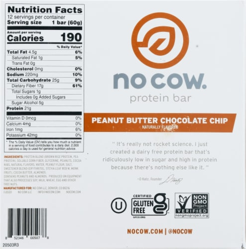 no cow® Peanut Butter Chocolate Chip Protein Bars Perspective: bottom