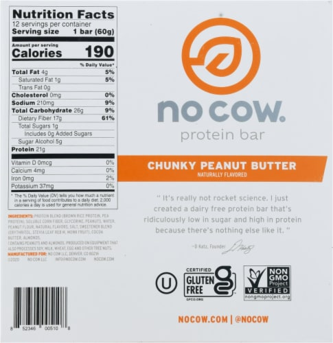 no cow® Dairy Free Chunky Peanut Butter Protein Bars Perspective: bottom