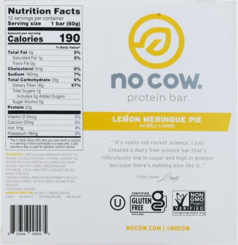 no cow® Dairy Free Lemon Meringue Pie Protein Bars Perspective: bottom