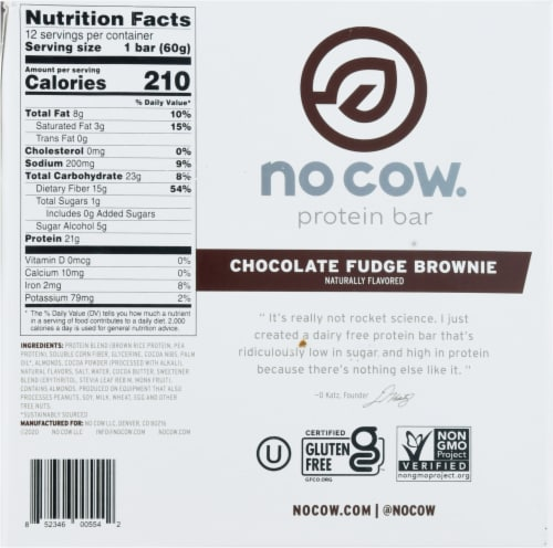 no cow® Dairy Free Chocolate Fudge Brownie Protein Bars Perspective: bottom