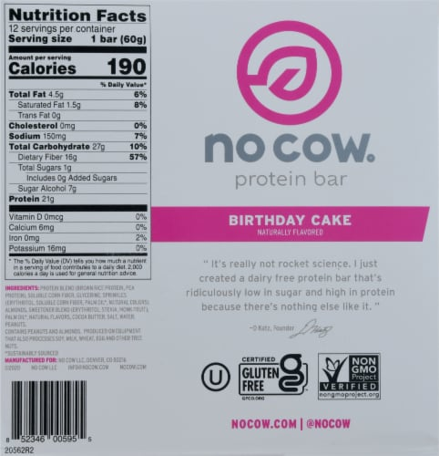 no cow® Dairy Free Birthday Cake Protein Bars Perspective: bottom