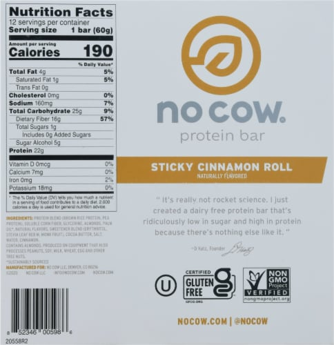 no cow® Dairy Free Sticky Cinnamon Roll Protein Bars Perspective: bottom