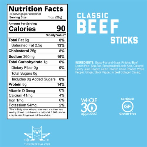 The New Primal Gluten Free Classic Beef Stick Perspective: bottom