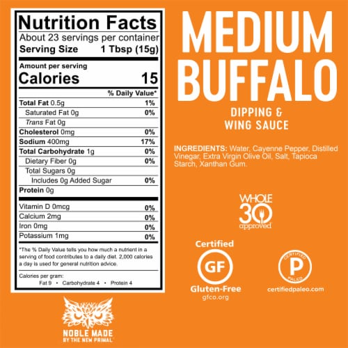 The New Primal Medium Noble Made Buffalo Dipping & Wing Sauce Perspective: bottom
