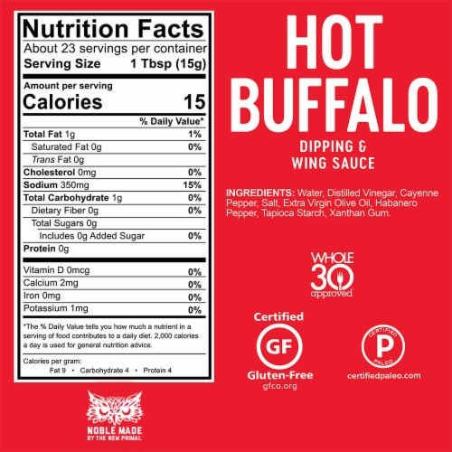 The New Primal Noble Made Hot Buffalo Dipping & Wing Sauce Perspective: bottom