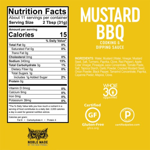 The New Primal Noble Made Mustard BBQ Cooking & Dipping Sauce Perspective: bottom