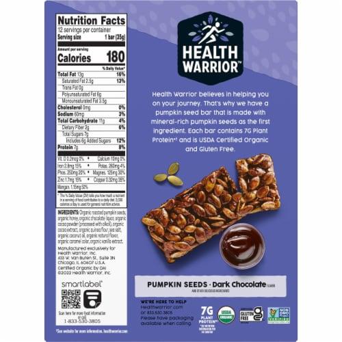 Health Warrior Organic Dark Chocolate Pumpkin Seed Bars Perspective: bottom
