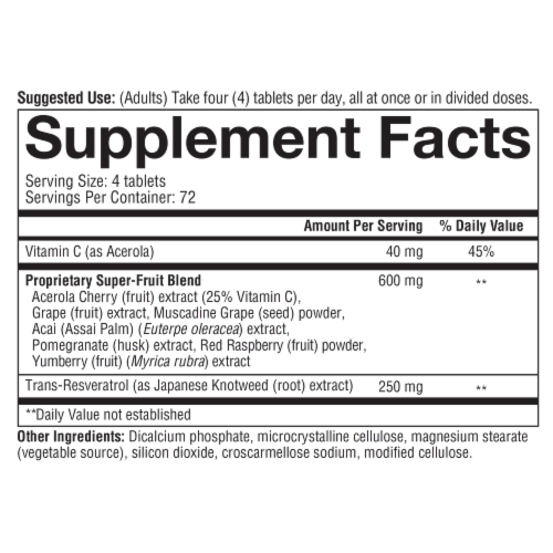 Youtheory™ Resveratrol Anti-Aging Benefits Tablets Perspective: bottom
