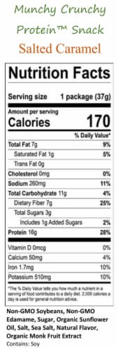 Salted Caramel 30-Packet Munchy Crunchy Protein Snack - Vegan Perspective: bottom