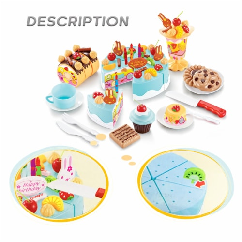 Birthday Cake Play Food Set Light Blue 75 Pieces Plastic Kitchen Cutting Toy Pretend Play Perspective: bottom