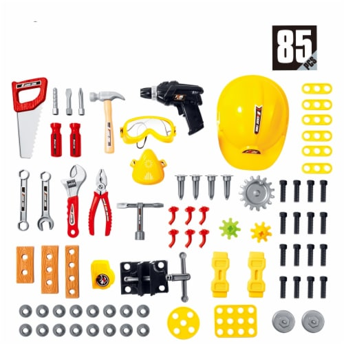 Tool Set for kids, Workbench for Kids, tool bench, with Tools and Drill - 85 pieces. Perspective: bottom