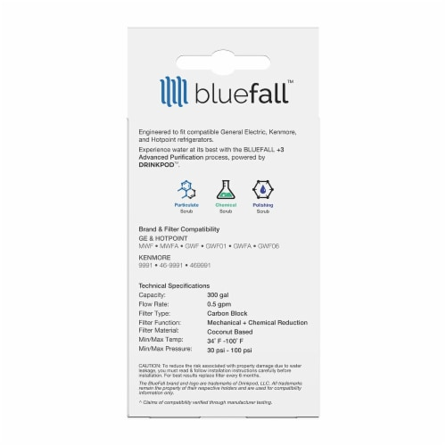 GE MWF 8PK Refrigerator Water Filter Compatible by BlueFall Perspective: bottom