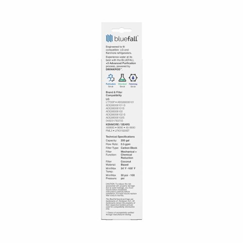 LG LT700P 5PK Refrigerator Water Filter Compatible by BlueFall Perspective: bottom