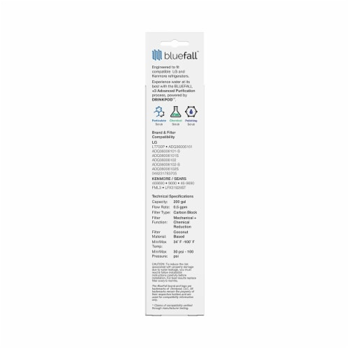 LG LT700P 10PK Refrigerator Water Filter Compatible by BlueFall Perspective: bottom