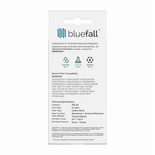 Samsung DA29-00003G 8PK Refrigerator Water Filter Compatible by BlueFall Perspective: bottom