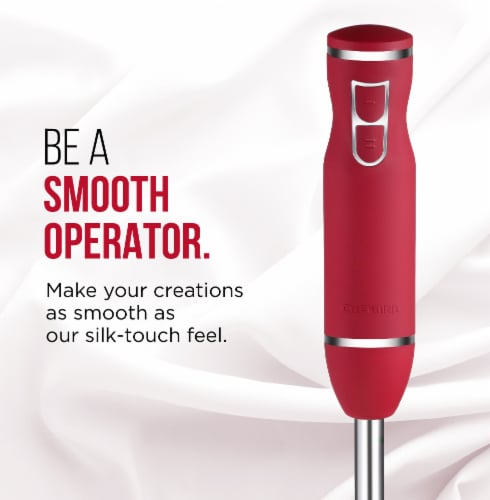Chefman 300 Watt 2 Speed Immersion Blender - Red/Silver Perspective: bottom