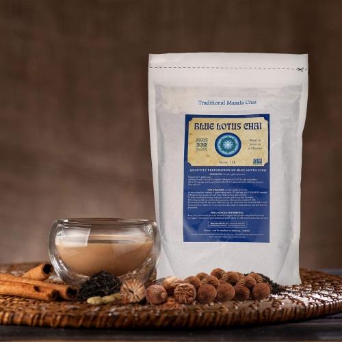 Blue Lotus Chai Traditional Masala Chai Powder, 1 Pound Bulk Bag, Makes 530 cups Perspective: bottom