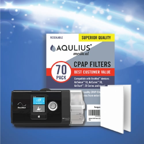 Disposable CPAP Filters (70 Pack - ONE Year Supply) - Fits All ResMed Air 10, Aircurve 10, S9 Perspective: bottom