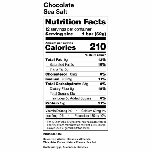 RXBAR Chocolate Sea Salt Protein Bars 5 Count Perspective: bottom