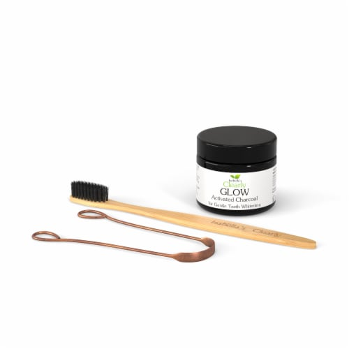 Clearly GLOW Kit, Activated Charcoal + Toothbrush + Tongue Scraper Kit Perspective: bottom