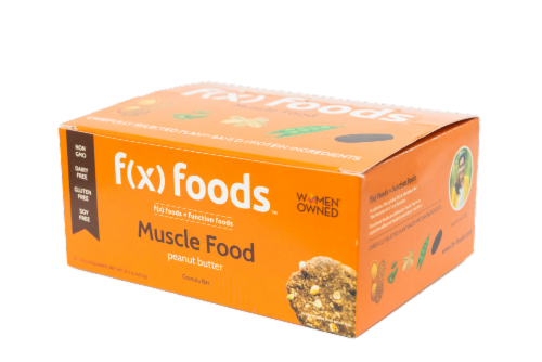 Muscle Food - 12 pack gluten free, all-natural nutrition bar, granola bar, fx foods Perspective: bottom