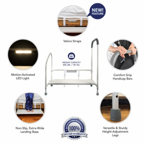 Step2bed Bed Rails for Elderly w/ Adjustable Height Bed Step Stool Perspective: bottom