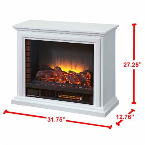 Pleasant Hearth Sheridan Mobile Infrared Fireplace - White Perspective: bottom