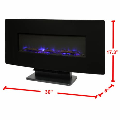 Muskoka Curved Front Wall Mount Glass Fireplace - Black Perspective: bottom