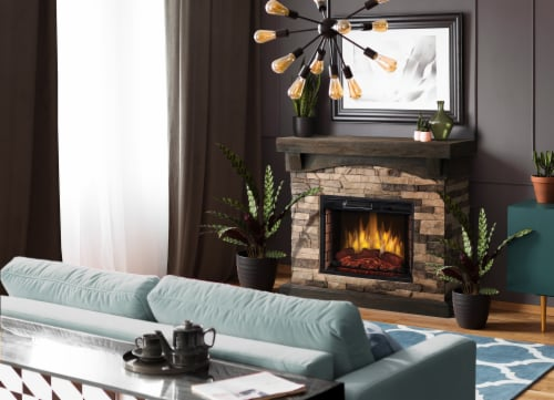 Muskoka Sable Mills Electric Faux Stone Fireplace - Tan Perspective: bottom