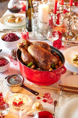 Staub Cast Iron 7-qt Oval Cocotte - Cherry Perspective: bottom