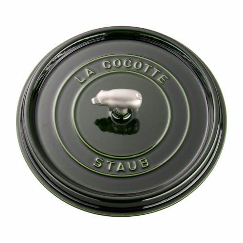 Staub Cast Iron 6-qt Cochon Shallow Wide Round Cocotte - Basil Perspective: bottom
