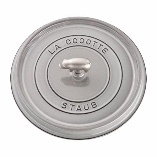 Staub Cast Iron 6-qt Cochon Shallow Wide Round Cocotte - Graphite Grey Perspective: bottom