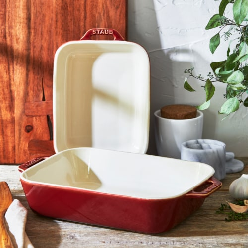 Staub Ceramic 2-pc Rectangular Baking Dish Set - Rustic Red Perspective: bottom