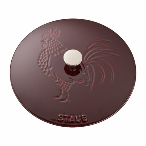 Staub Cast Iron 3.75-qt Essential French Oven Rooster - Grenadine Perspective: bottom