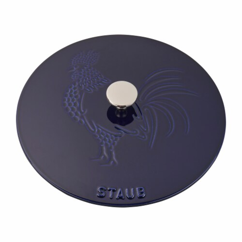 Staub Cast Iron 3.75-qt Essential French Oven Rooster - Dark Blue Perspective: bottom