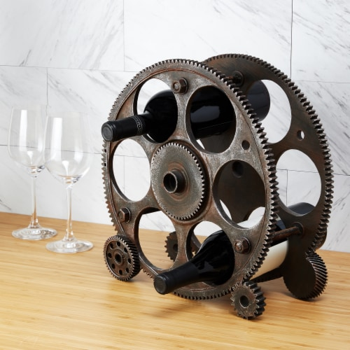 Gears And Wheels Wine Rack by Foster & Rye™ Perspective: bottom