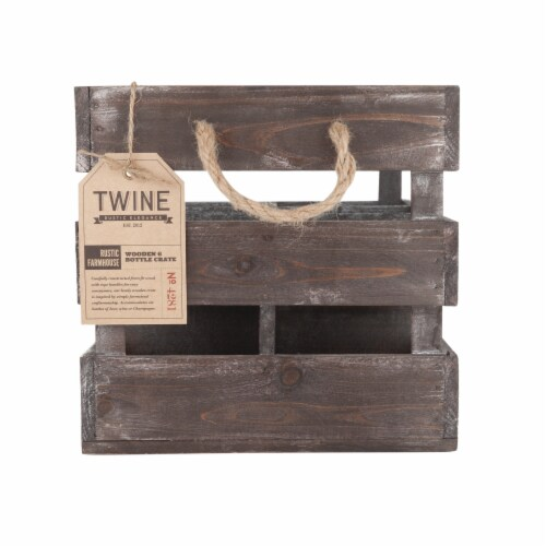 Wooden 6-Bottle Crate by Twine® Perspective: bottom