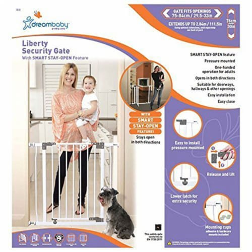 Dreambaby L854 Liberty 29.5 to 33 Inch Baby and Pet Stay Open Safety Gate, White Perspective: bottom