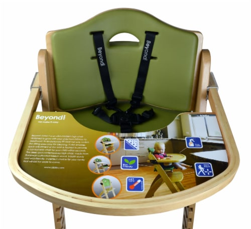 Abiie Beyond Wooden High Chair with Tray. (Natural Wood - Olive Cushion) Perspective: bottom