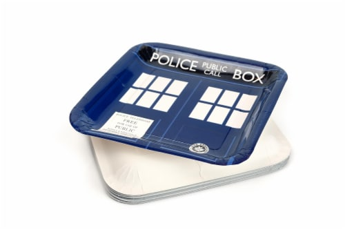 "Doctor Who 9"" TARDIS Square Paper Plates, Set of 8 Perspective: bottom"