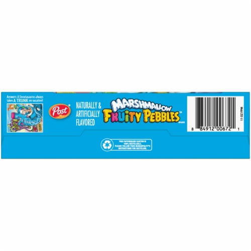 Post Marshmallow Fruity Pebbles Cereal Perspective: bottom